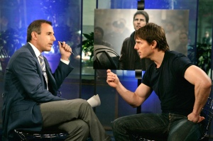 "Matt Lauer (L), host of the NBC television network morning show ""The Today Show"", interviews actor Tom Cruise about his new film ""War of the Worlds"" during Cruise's appearance on the show in New York City June 24, 2005. Later in the interview, Cruise took Lauer to task when Lauer commented on Cruise's earlier criticism of Brooke Shields for taking anti-depressants. NO SALES NO ARCHIVES REUTERS/Virginia Sherwood/NBC Universal/Handout"